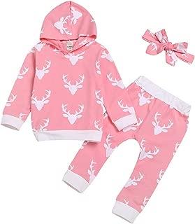 Toddler Girl Christmas Outfit Christmas Baby Printed Hoodie Sweatshirts Tops+Pants+Headbands Set