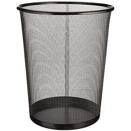 EUROXANTY® Corbeille à papier | Poubelle en acier inoxydable | Boîte à ordures de bureau | Grille métallique | 27 x 24 cm | 10L