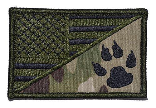 USA Flag/Tracker Paw Scout Emblem 2.25x3.5 Patch - Multiple Color Options (Multicam)