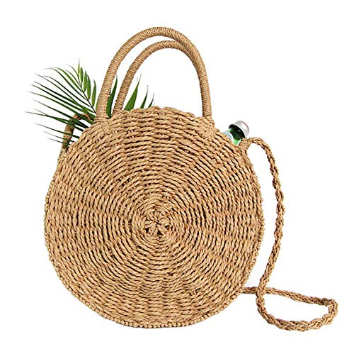 MATERIAL: Made of durable Straw. Inner Material: Polyester, Cotton Lining. Closure Type: Zipper SIZE: Diameter: 30cm/11.8inches Bottom thickness: 10cm/3.94inches Height:40cm/15.75inches; Three methods of use:as a shoulder bag, a handbag or as a cross...