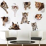 3D Cartoon Katzen hund Aufkleber Wanddeko Abziehbilder Wandsticker Wandtattoo für Kühlschrank, Toilette,Wohnung,schlafenzimmen (E)