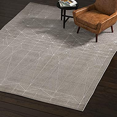 Rivet Contemporary Polyester Area Rug, 8 x 11 Foot, Silver, Grey, White