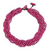 NOVICA Bright Pink Handmade Multi-Strand Beaded Wood Torsade Necklace, 19' 'Ping Belle'