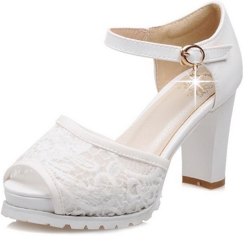 AmoonyFashion Women's Buckle Peep Toe High-Heels PU Solid Heeled-Sandals