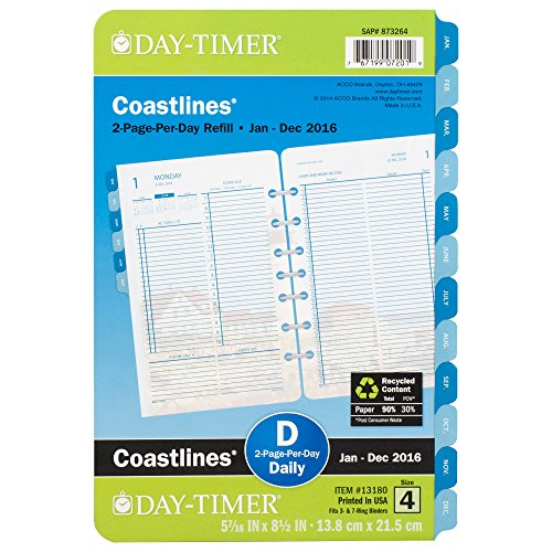 DayTimer Coastlines Desk-Size Daily Refill 2016, 5.5 x 8.5 Inches Page Size (131801601)