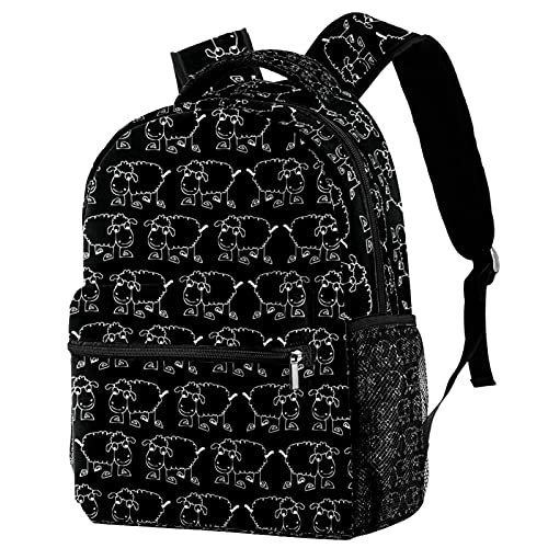 Kinder Rucksack Schultasche Leichte Kinder Grundschule Tasche Große Kapazität Vorschulkindergarten Buch Reisetasche Niedliches einfaches schwarzes Schaf-Muster