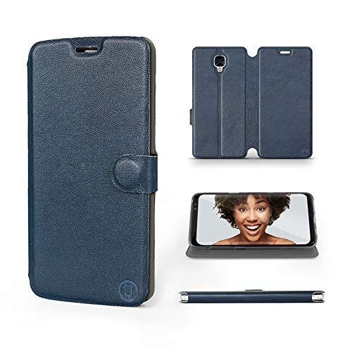 Mobiwear   Echt Lederhülle   Kompatibel mit OnePlus 3T, Made in EU handyhülle, Slim Leather Hülle, Premium Flip Schutzhülle, Transparent TPU Silicon, Book Style, Tasche - Blaues Leder