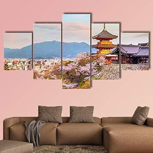 NNNLX 5 Piezas De Murales, Cuadros De Lienzo, Pinturas Al Óleo, Impresiones, Templo de kiyomizu dera en la Temporada de los cerezos en Flor,Salón De Hogardecoracion De Pared Enmarcado