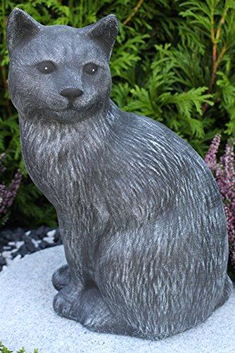 Steinfigur Katze groß, 179/1 Gartenfigur Steinguss Tierfigur Basaltgrau