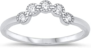 Matching Band Curved for Ring Round Cubic Zirconia 925 Sterling Silver