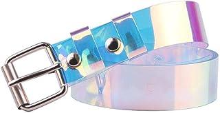 ZHUOTOP Waist Belt Plastic Colorful Transparent Classic Pin Buckle Wide Square Shape Iridescent Casual for Jeans Dresses