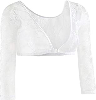 Womens Solid V Neck Perspective Lace Basic Shirt Blouse Tops Cardigan