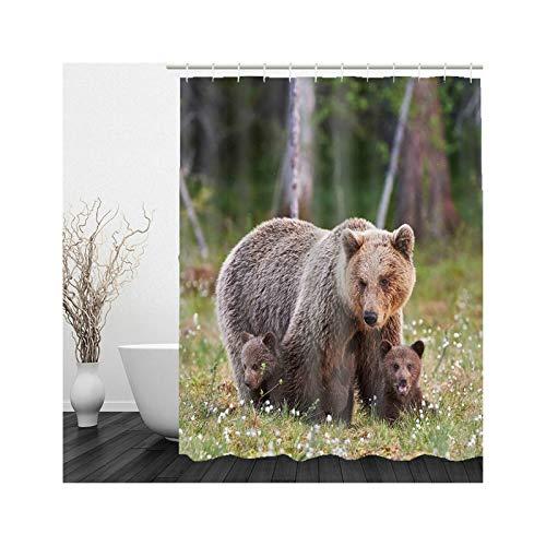 KnSam Cortina de ducha, diseño de madre oso y niño, antimoho, poliéster, 128 x 19 cm