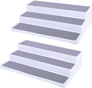 Vencer 3-Tier Non-Skid Spice Racks Step, Cabinet Shelf Organizer for Kitchen or Bathroom, 15 inches, Set of 2, White/Gray,...