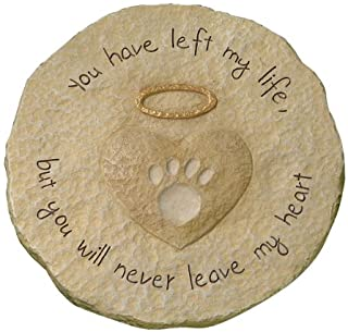 """Best Grasslands Road Beloved """"You will never leave my heart"""" Paw Print with Halo Pet Remembrance Stepping Stone Plaque Review"""