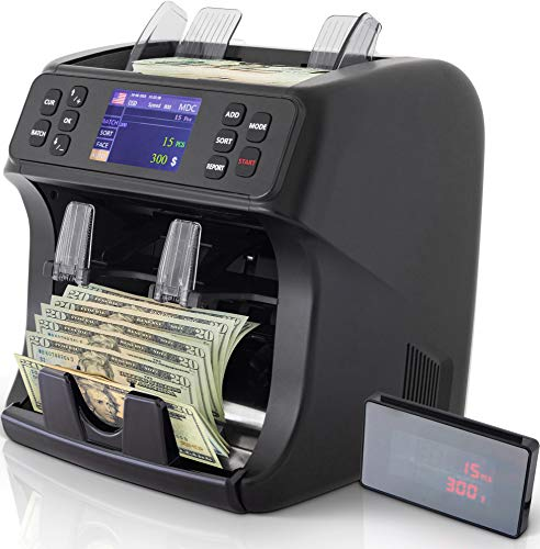 DETECK Edge 2 Pocket Mixed Denomination Money Value Counter Machine 2 Yr Warranty Bank Grade Money Counting Machine Mixed Bills Counterfeit Detection (UV/MG), Reject Pocket Sorting & Printing Enabled