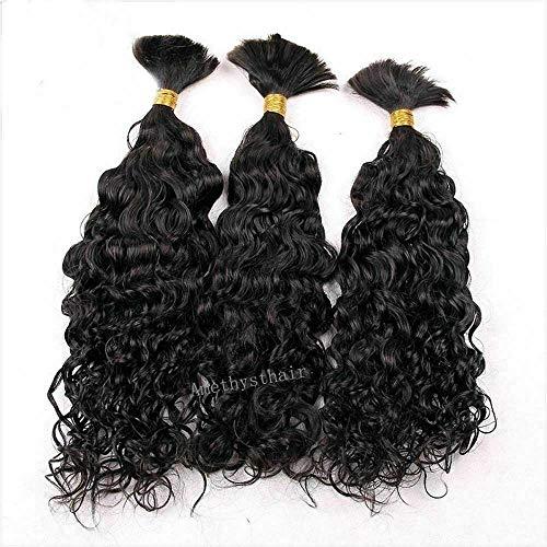 Water Wave Human Hair Bulk For Braiding Brazilian Virgin Bulk Hair Bundle No Weft Micro Braids Human Hair Weaving 100g 1Piece/order (20inch 1bundle, #1B(Natural Black))