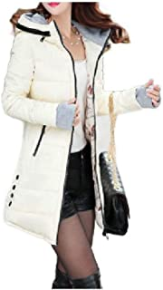 Howely Women Hooded Jacket Knee-Length Warm Plus-Size Slim Down Jacket