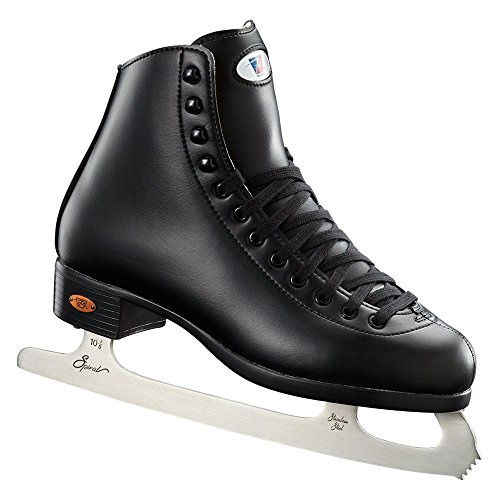 Riedell Skates - 110 Opal - Recreational Ice Skates with Stainless Steel Spiral Blade for Men | Black | Size 5