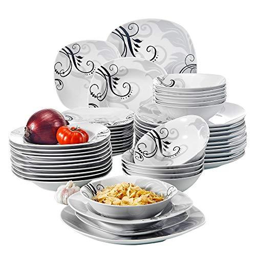 VEWEET Tafelservice 'Zoey' aus Porzellan 48 teilig | Geschirrset beinhaLtet Müslischalen, Dessertteller, Speiseteller und Suppenteller| Geschirrservice für 12 Personen …