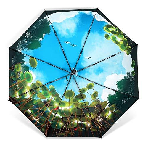 Klappschirm Neuer Modischer Uv-sicherer Dreifach Klappbarer Luxus-Sonnenschirm-Regenschirm Starker Sonnenschutz-uv-Schutz Schwarzer Regenschirm