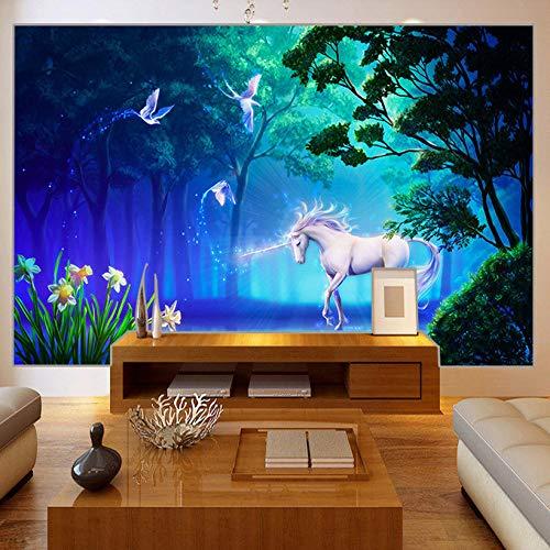 BHXIAOBAOZI Eigen 4D muurschildering groot wallpaper, stereo sprookjesbos fluorescerende witte horse, moderne Hd zijde muurschildering poster afbeelding TV sofa achtergrond muur decoratie voor woonkamer 250cm(W)×160cm(H)|8.2×5.24 ft
