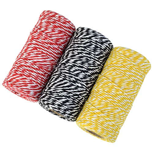 Topbuti 984 Feet 2mm Cotton Bakers Twine, Christmas Wrapping Twine Gift Packing String Rope Cord for DIY Crafts, Valentine's Day Holiday (Red and White, Black and White, Yellow and White) Photo #7