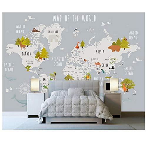 Wandbilder Kinder Tapeten Aufkleber Cartoon Weltkarte Fototapete Wandbild 3D Kinderzimmer Schlafzimmer-250cmx175cm