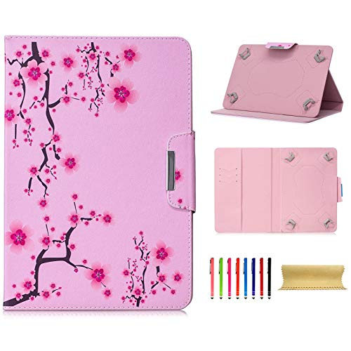7.0 Inch Tablet Universal Case, Techcircle Ultra Slim PU Leather Stand Flip Wallet Protective Cover for Amazon Fire 7, Galaxy Tab A/Tab E/Tab 4/Tab 3 7.0, RCA Voyager 7, Pink Flowers