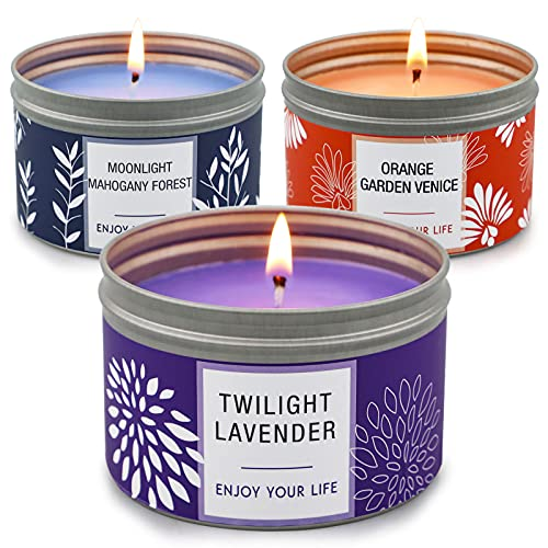 Candles for Home Scented, 100 Hour Long Lasting Aromatherapy Candle, Highly Scented & Soy Jar Candle Gift Set - 3 Pack 4.6 Oz, Lavender | Orange Blossom | Mahogany Candle, Christmas Gifts