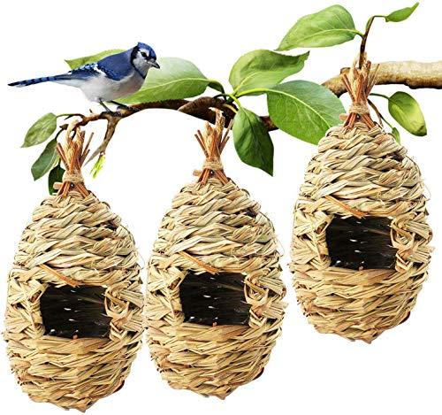 Duyifan Nido Pajaro Casa de pájaros,Paquete 3 Pajaros Exterior Tejidas a Mano Hierba Nidos para, Paja Tejida pájaros Patio al Aire Libre Jardín Decoración Colgante Loro Canario Otras Aves