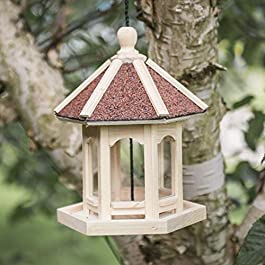 garden mile® Novelty Hanging Park Gazebo Bird Feeder for the Garden | Beautiful Round Hexagonal Carousel Arbour Pergola Wild Bird Feeding Station for Bird Seed Mix and Peanuts | Cute Garden Decor