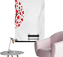 Anzhutwelve Tree Art Stickers Tree with Heart Shaped Leaves and A Bench Romance Love Valentines Secret Land ArtsyRed Black W32 xL48 The Office Poster