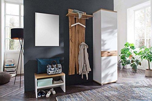 lifestyle4living Garderoben-Set in Weiß, Wotan-Eiche Dekor, 210 cm | Flur-Garderobenset mit Garderobenschrank, Spiegel-Paneel, Sitzbank, Garderoben-Paneel