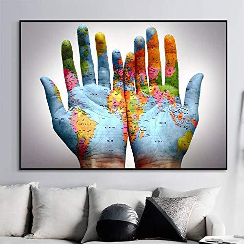 TYLPK Pintura al óleo Imprimir Poster HD Canvas World Map Living Room Home A5 60x90cm