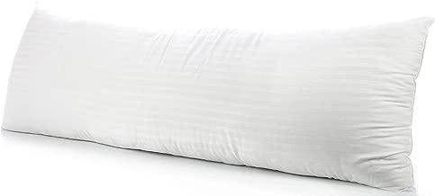 beddingstar Body Pillowcase Pillow Cover 20 x 54 Zipper Closer Set of 1 Body Pillow Case 500 Thread Count 100% Pure Egyptian Cotton Body Pillow Cases White Stripe
