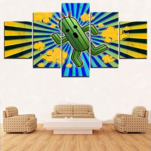 xjzjy Bilder 5 Teilig Leinwandbilder Leinwand Wandkunst Spiel Kaktus Puppe Poster Für Wohnzimmer Dekoration Hd Drucke Bild Rahmenlos