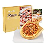Homfa Juego de Piedra y Pala para Pizza de 11 x 15 Pulgadas - Pizza Stone para Horno y Parrilla de...