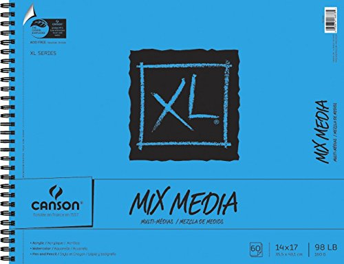 Canson XL Mix-Media Paper, 98 lb, 14 x 17 Inches, 60 Sheets - 100510930