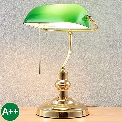 Lindby Tischlampe 'Milenka' (Retro, Vintage, Antik) in Gold/Messing aus Metall u.a. für Wohnzimmer & Esszimmer (1 flammig, E27, A++) - Tischleuchte, Schreibtischlampe, Nachttischlampe