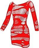 Lencería de Rejilla para Mujer Babydoll Mini Vestido Recortado Chemise Manga Larga sin Espalda Ropa de Dormir(Rojo)