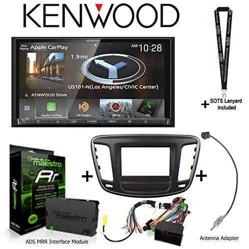 """Kenwood DNX875S 6.95"""" Navigation Receiver w Apple CarPlay/Android Auto, iDatalink KIT-C200 Dash and Wiring kit for Select Chrysler, ADS-MRR Interface Module, BAA22 Antenna Adapter and a SOTS Lanyard"""