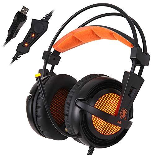 AN Stereo-Gaming-Kopfhörer Mit Kabel, Spiel-Headset Über Dem Ohr Mit Mikrofon-Sprachsteuerung Für Laptop-Computer-Gamer-Headset,Schwarz