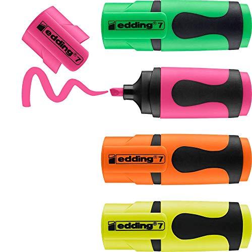 edding Textmarker edding 4 mini highlighter, 1-3 mm, sortiertes Set