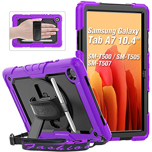 SEYMAC Case for Samsung Galaxy Tab A7 10.4 Inch 2020 (SM T500/T505), Shockproof Rugged Case with 360 Rotating Kickstand/Hand Strap, Screen Protector, Shoulder Strap, Pencil Holder for Tab A7, Purple