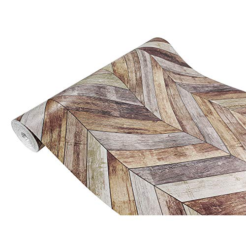Askol DecoMeister Klebefolie in Holzoptik Möbelfolie Selbstklebende Holzfolie Deko-Folie Holzdekor Selbstklebefolie 45x100 cm Fischgrät-Parkett