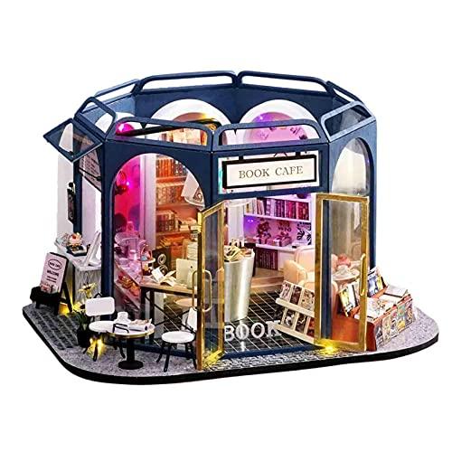 huitailang - Kit de casa de muñecas, kit de casa en miniatura de madera 3D con tapón antipolvo, regalo de artesanía para Navidad, kit de casa de muñecas montado a mano con luz LED