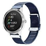 Keweni Compatible con Garmin Vivoactive 3 Correa,Pulsera de Repuesto de Acero Metal Inoxidable para Garmin Vivoactive 3/Vivoactive 3 Music/Forerunner 645 Music/Forerunner 245 Smart Watch (Azul)