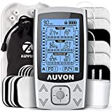AUVON Dual Channel TENS EMS Unit 24 Modes Muscle Stimulator for Pain Relief, Rechargeable TENS Machine Massager with 12 Pads, ABS Pads Holder, USB Charger and Dust-Proof Storage Bag