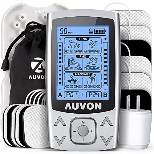 AUVON - Estimulador muscular de doble canal TENS EMS de 24 modos para aliviar el dolor, masajeador de máquina TENS recargable con 12 almohadillas, soporte de almohadillas ABS, cargador USB y bolsa de almacenamiento a prueba de polvo